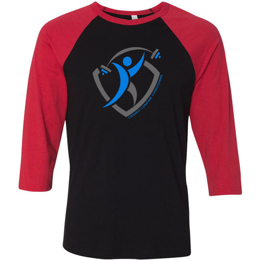 CrossFit Constant Conditioning - 100 - Design 1 - Bella + Canvas - Men's Three-Quarter Sleeve Baseball T-Shirt
