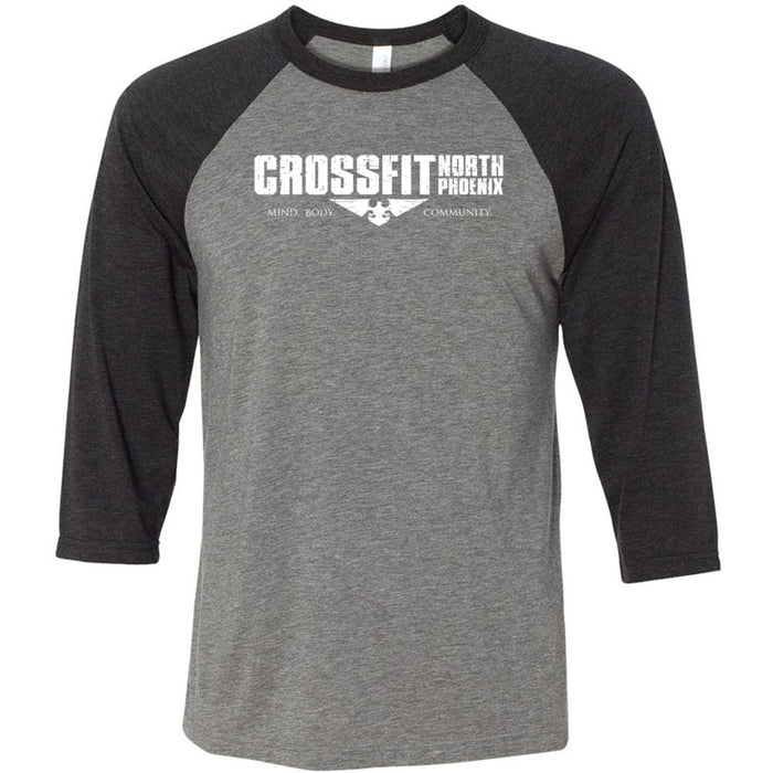 CrossFit North Phoenix - 100 - 1 Sided Print - Bella + Canvas - Men's Three-Quarter Sleeve Baseball T-Shirt