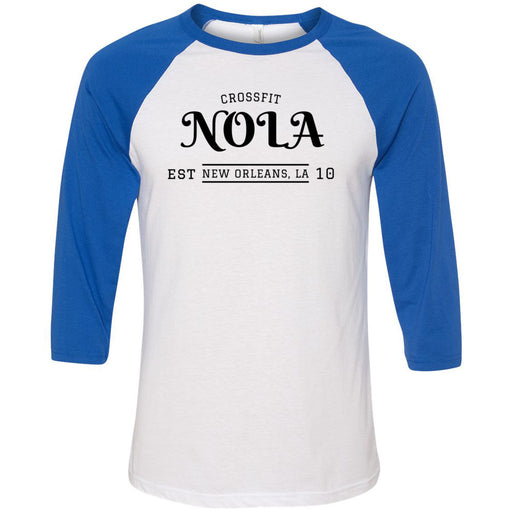 CrossFit NOLA - 100 - UU2 - Bella + Canvas - Men's Three-Quarter Sleeve Baseball T-Shirt