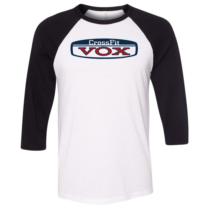 CrossFit Vox - 100 - Blue & Red - Bella + Canvas - Men's Three-Quarter Sleeve Baseball T-Shirt