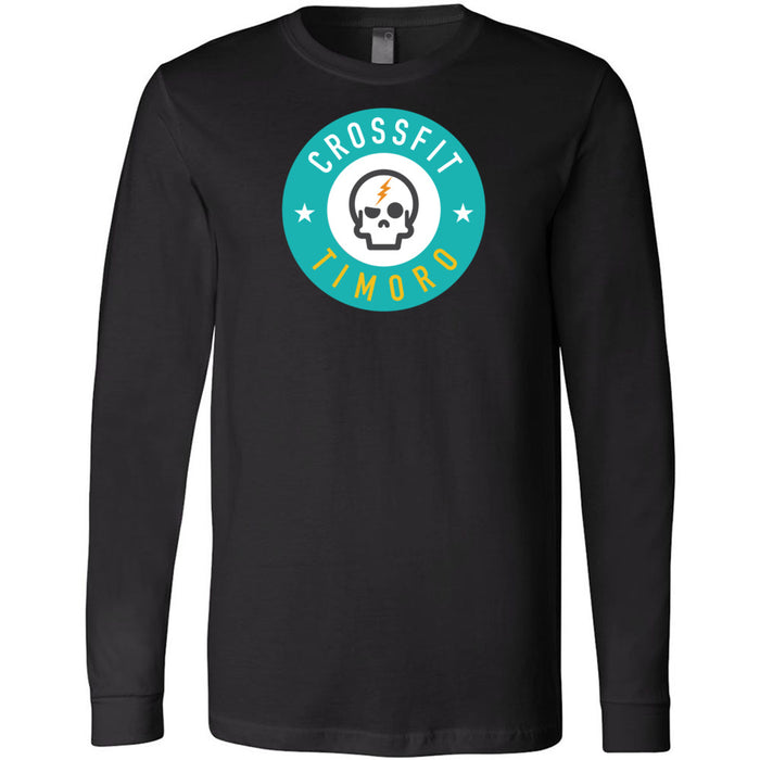 CrossFit Timoro - 100 - Round Cyan - Bella + Canvas 3501 - Men's Long Sleeve Jersey Tee