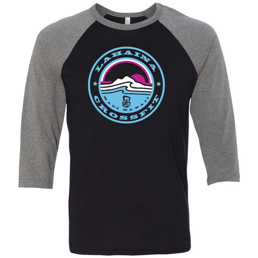Lahaina CrossFit - 100 - Miami Sunrise Blue - Bella + Canvas - Men's Three-Quarter Sleeve Baseball T-Shirt