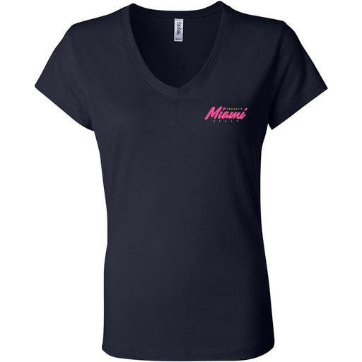 Reebok CrossFit Miami Beach - 200 - WZA - Bella + Canvas - Women's Short Sleeve Jersey V-Neck Tee