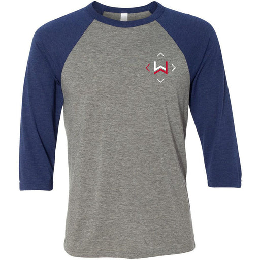 CrossFit West Des Moines - 202 - Icon - Bella + Canvas - Men's Three-Quarter Sleeve Baseball T-Shirt