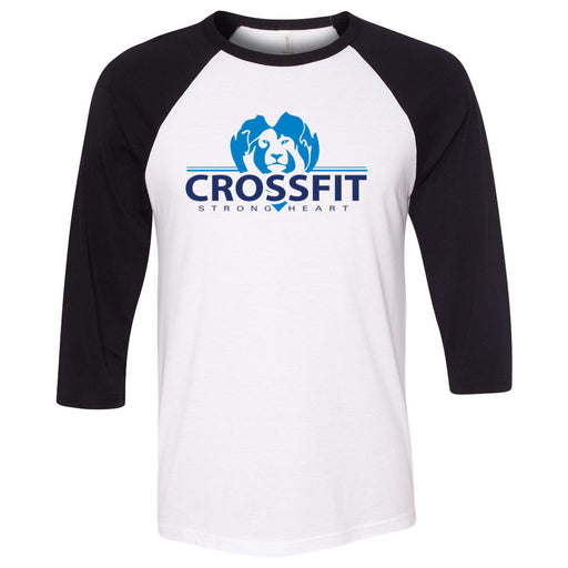 CrossFit Strong Heart - 100 - Standard - Bella + Canvas - Men's Three-Quarter Sleeve Baseball T-Shirt