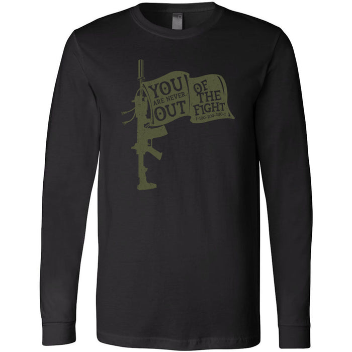 AMP Premium - 100 - You Are Never Out of the Fight - Bella + Canvas 3501 - Men's Long Sleeve Jersey Tee