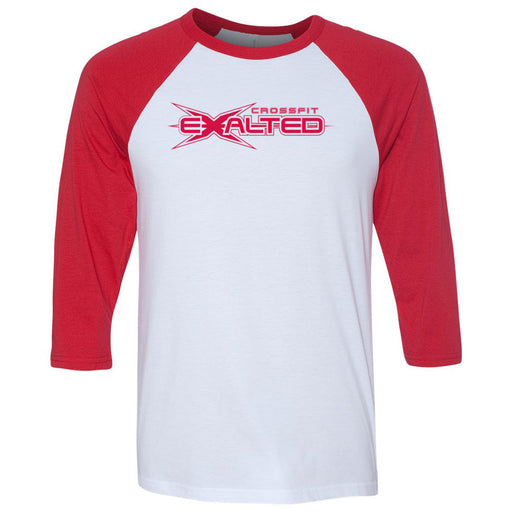 CrossFit Exalted - 100 - Red - Bella + Canvas - Men's Three-Quarter Sleeve Baseball T-Shirt