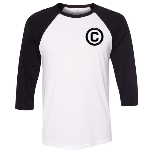 The City CrossFit - 202 - The Yard - Bella + Canvas - Men's Three-Quarter Sleeve Baseball T-Shirt
