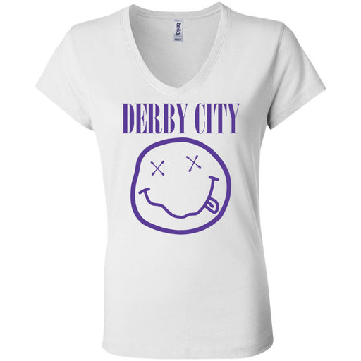 Derby City CrossFit - 200 - Nirvana Blue - Bella + Canvas - Women's Short Sleeve Jersey V-Neck Tee