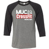 CrossFit MUC - 100 - Standard - Bella + Canvas - Men's Three-Quarter Sleeve Baseball T-Shirt