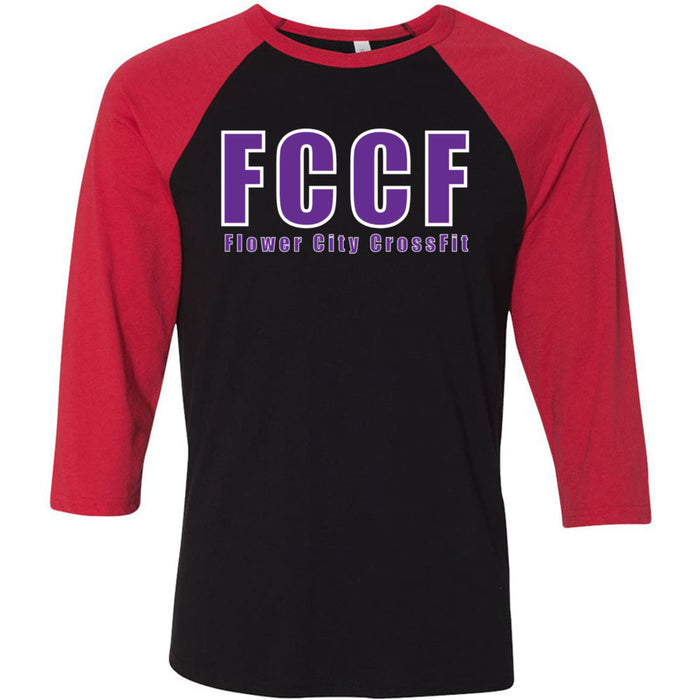 Flower City CrossFit - 100 - Purple - Bella + Canvas - Men's Three-Quarter Sleeve Baseball T-Shirt
