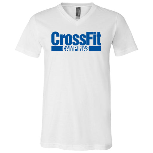 CrossFit Campinas - 100 - Blue - Bella + Canvas - Men's Short Sleeve V-Neck Jersey Tee