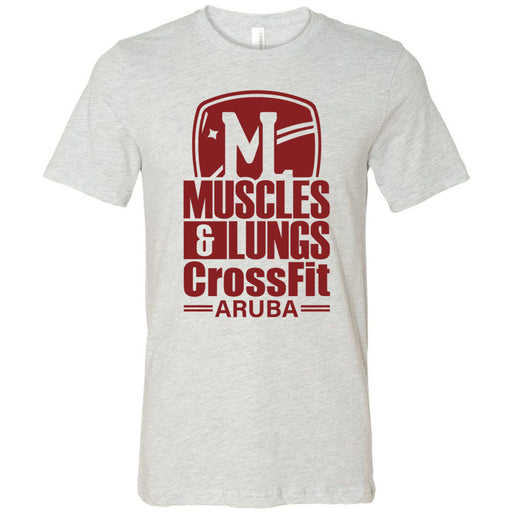 Muscles & Lungs CrossFit - 100 - Maroon - Bella + Canvas - Men's Short Sleeve Jersey Tee