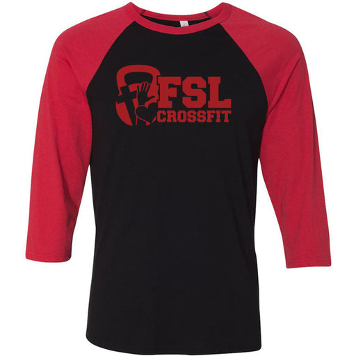 FSL CrossFit - 100 - Red - Bella + Canvas - Men's Three-Quarter Sleeve Baseball T-Shirt