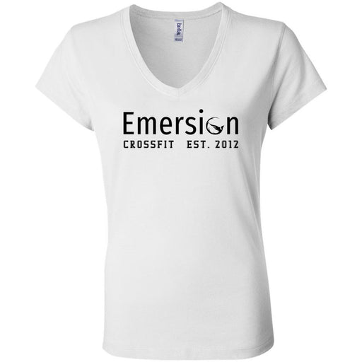 Emersion CrossFit - 100 - Black - Bella + Canvas - Women's Short Sleeve Jersey V-Neck Tee