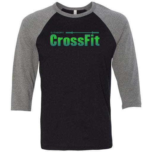 G-Theory CrossFit - 100 - Stacked Gradient - Bella + Canvas - Men's Three-Quarter Sleeve Baseball T-Shirt