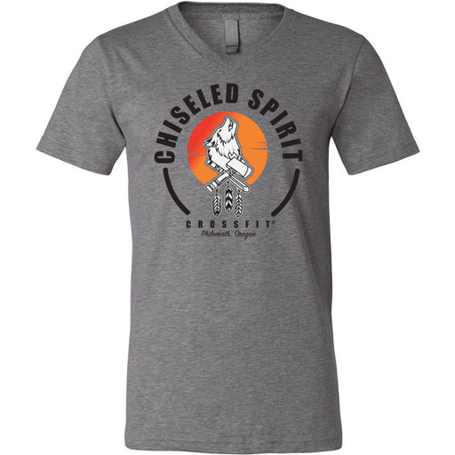 Chiseled Spirit CrossFit - 100 - Stacked - Bella + Canvas - Men's Short Sleeve V-Neck Jersey Tee