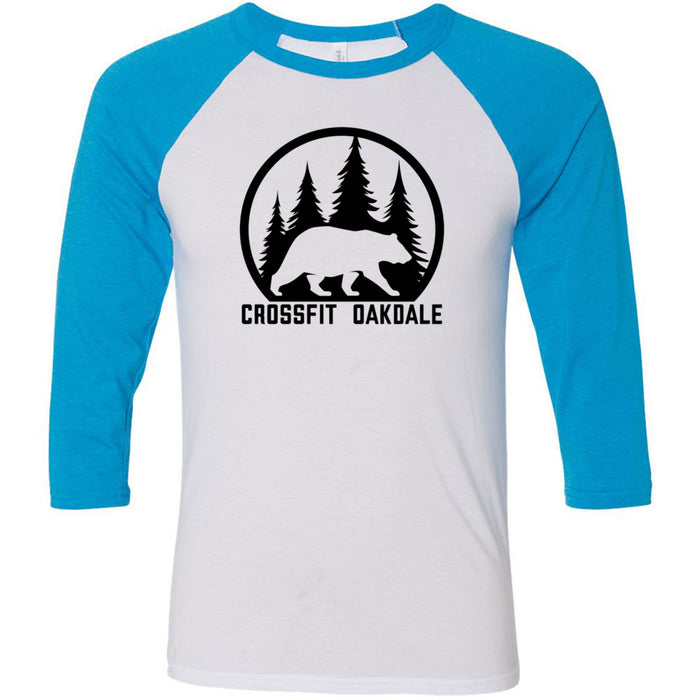 CrossFit Oakdale - 100 - Calibear Black - Bella + Canvas - Men's Three-Quarter Sleeve Baseball T-Shirt