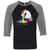 Crossfit 1926 - 202 - Unicorn - Bella + Canvas - Men's Three-Quarter Sleeve Baseball T-Shirt