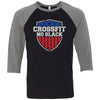 CrossFit No Slack - 100 - Standard - Bella + Canvas - Men's Three-Quarter Sleeve Baseball T-Shirt
