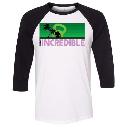 CrossFit Incredible - 202 - Green Purple - Bella + Canvas - Men's Three-Quarter Sleeve Baseball T-Shirt