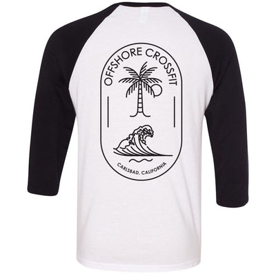 Offshore CrossFit - 202 - Carlsbad Double Print - Bella + Canvas - Men's Three-Quarter Sleeve Baseball T-Shirt