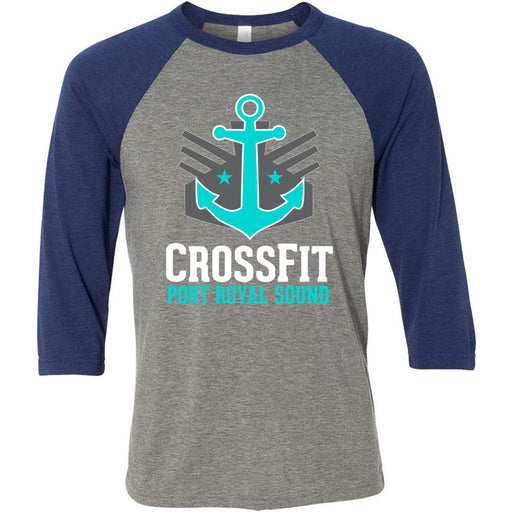 CrossFit Port Royal Sound - 100 - Stacked - Bella + Canvas - Men's Three-Quarter Sleeve Baseball T-Shirt