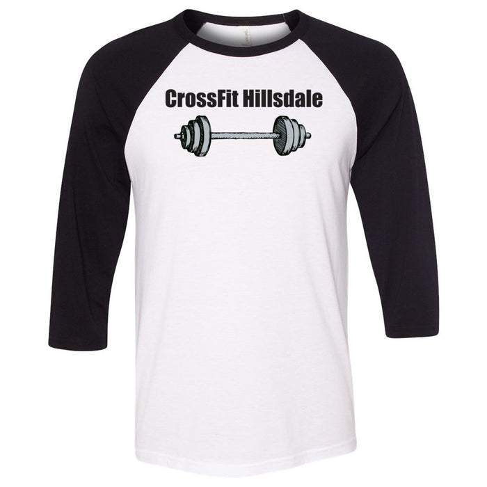 CrossFit Hillsdale - 100 - Barbell - Bella + Canvas - Men's Three-Quarter Sleeve Baseball T-Shirt