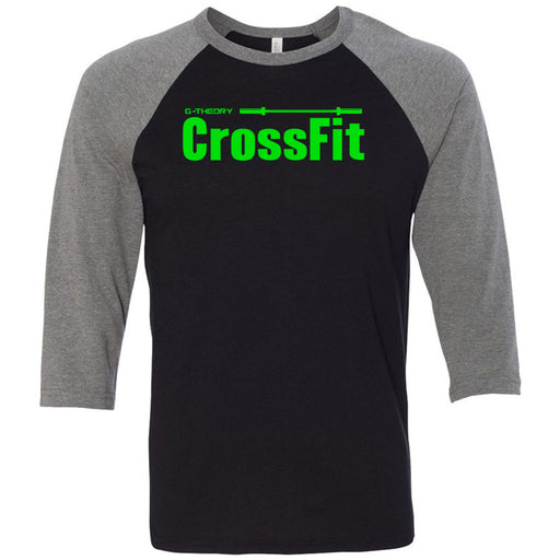 G-Theory CrossFit - 100 - Stacked Green - Bella + Canvas - Men's Three-Quarter Sleeve Baseball T-Shirt