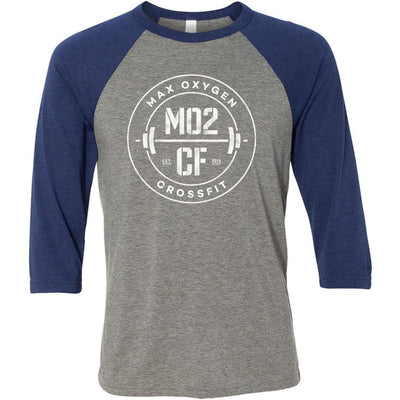 Max Oxygen CrossFit - 202 - MO2CF - Bella + Canvas - Men's Three-Quarter Sleeve Baseball T-Shirt