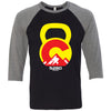5280 CrossFit - 100 - Kettlebell - Bella + Canvas - Men's Three-Quarter Sleeve Baseball T-Shirt