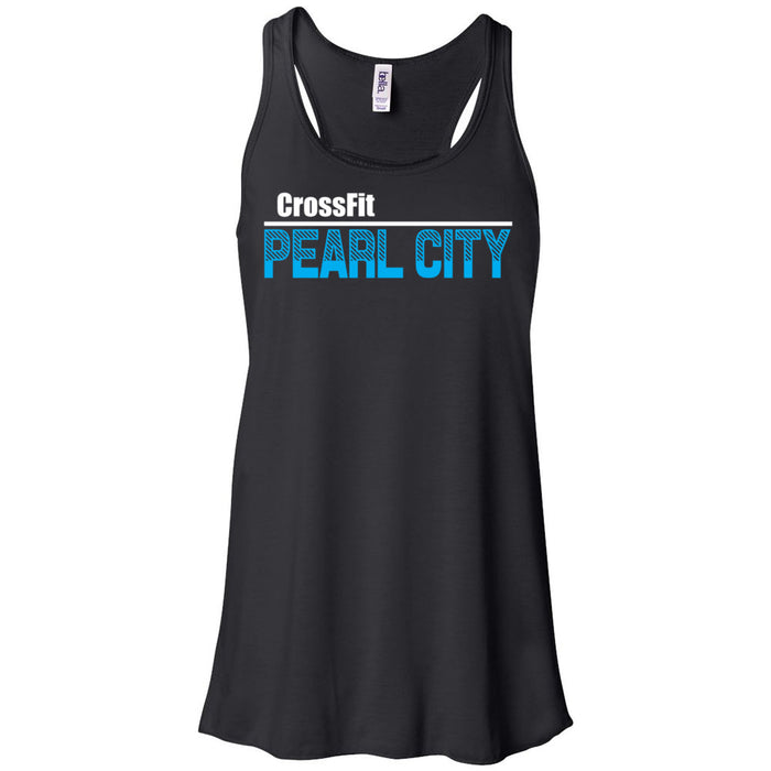CrossFit Oahu - 100 - Pearl City Blue - Bella + Canvas - Women's Flowy Racerback Tank