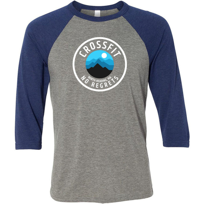 CrossFit No Regrets - 100 - Wilderness 8 - Bella + Canvas - Men's Three-Quarter Sleeve Baseball T-Shirt