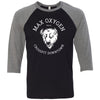 Max Oxygen CrossFit - 202 - Buffalo - Bella + Canvas - Men's Three-Quarter Sleeve Baseball T-Shirt