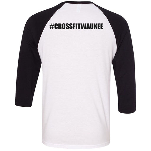 CrossFit Waukee - 202 - Acceleration Iowa - Bella + Canvas - Men's Three-Quarter Sleeve Baseball T-Shirt