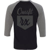 CrossFit Rx - 202 - Cursive - Bella + Canvas - Men's Three-Quarter Sleeve Baseball T-Shirt