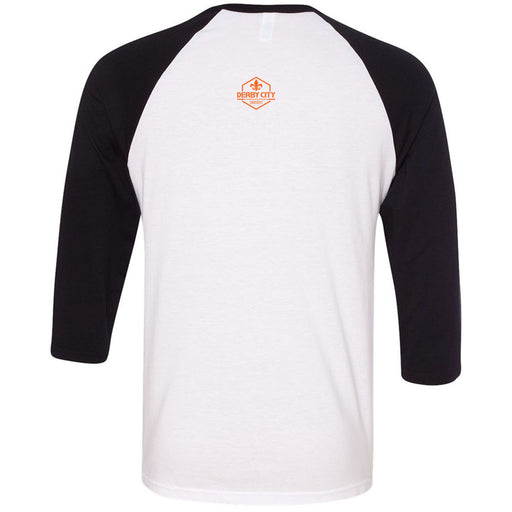 Derby City CrossFit - 202 - Nirvana Orange - Bella + Canvas - Men's Three-Quarter Sleeve Baseball T-Shirt