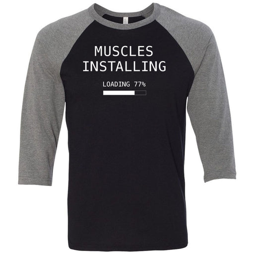 CrossFit Inua - 202 - Muscles Installing - Bella + Canvas - Men's Three-Quarter Sleeve Baseball T-Shirt