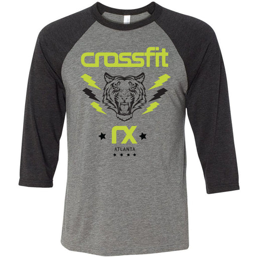 CrossFit Rx - 100 - Tiger - Bella + Canvas - Men's Three-Quarter Sleeve Baseball T-Shirt