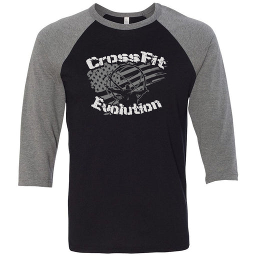 CrossFit Evolution - 202 - Atlas - Bella + Canvas - Men's Three-Quarter Sleeve Baseball T-Shirt