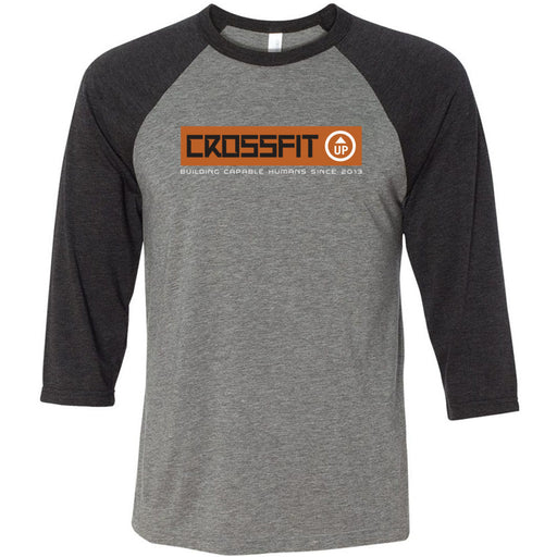 CrossFit Up - 100 - Building Capable Humans - Bella + Canvas - Men's Three-Quarter Sleeve Baseball T-Shirt