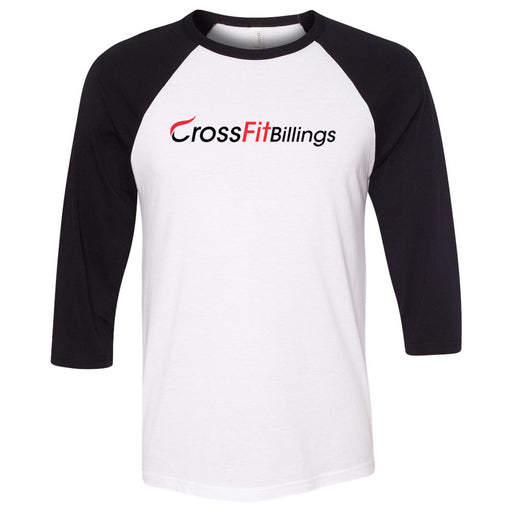 CrossFit Billings - 100 - Standard - Bella + Canvas - Men's Three-Quarter Sleeve Baseball T-Shirt