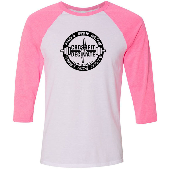 CrossFit Decimate - 100 - Standard - Bella + Canvas - Men's Three-Quarter Sleeve Baseball T-Shirt