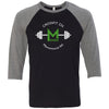 CrossFit 235 - 100 - Barbell - Bella + Canvas - Men's Three-Quarter Sleeve Baseball T-Shirt