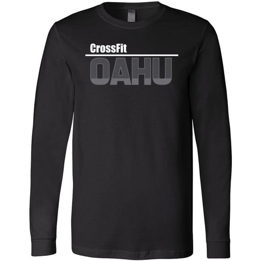 CrossFit Oahu - 202 - HI White Gray - Bella + Canvas 3501 - Men's Long Sleeve Jersey Tee
