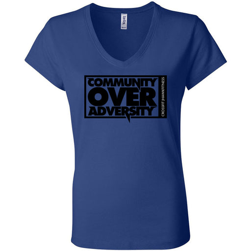 CrossFit Jhawkfitness - 100 - Community - Bella + Canvas - Women's Short Sleeve Jersey V-Neck Tee