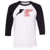 CrossFit Free State - 100 - Standard - Bella + Canvas - Men's Three-Quarter Sleeve Baseball T-Shirt