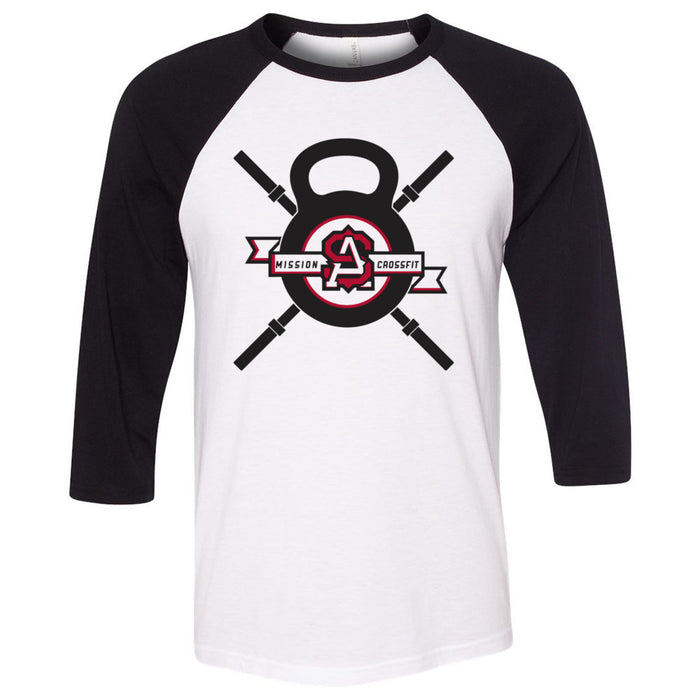 Mission CrossFit San Antonio - 100 - Crossbars - Bella + Canvas - Men's Three-Quarter Sleeve Baseball T-Shirt