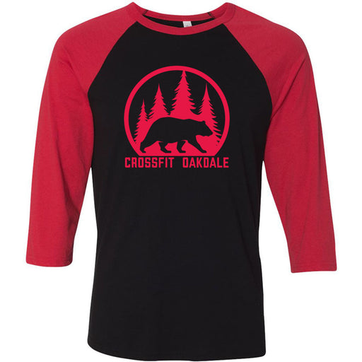 CrossFit Oakdale - 100 - Calibear Red - Bella + Canvas - Men's Three-Quarter Sleeve Baseball T-Shirt