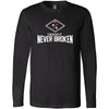 CrossFit Never Broken - 100 - Stacked - Bella + Canvas 3501 - Men's Long Sleeve Jersey Tee